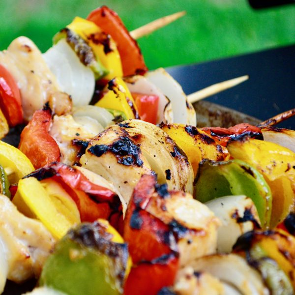 monkfish and mixed pepper kebabs